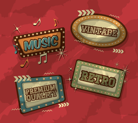 billboards with light style premium music retro vintage vector illustration Illustration