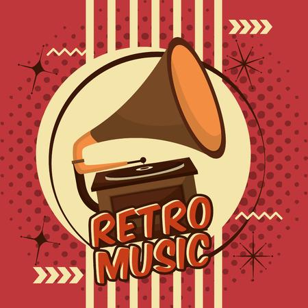 gramophone music device vinyl lp retro vintage vector illustration Stock Illustratie