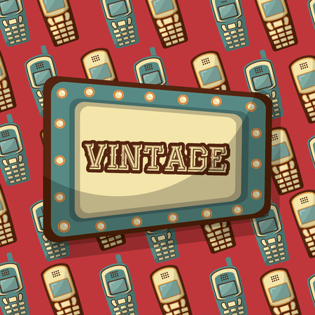 billboard with vintage word and cellphone background vector illustration Foto de archivo - 102971649