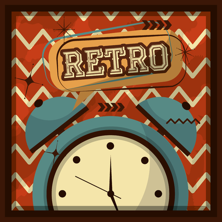 retro vintage alarm clock geometric background vector illustration