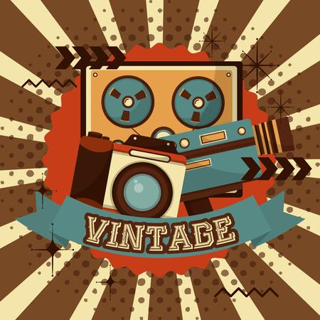 reel to reel tape recorder camera camcorder halftone retro vintage vector illustration 向量圖像