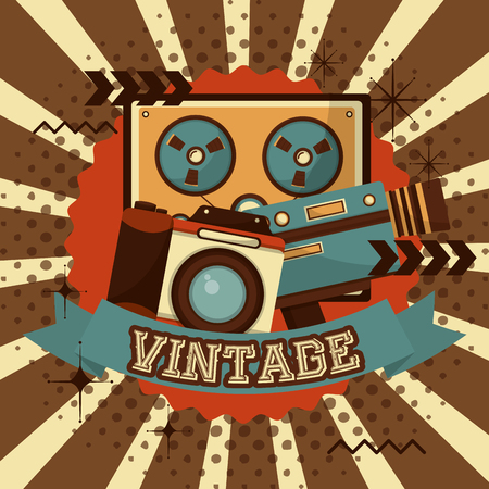 reel to reel tape recorder camera camcorder halftone retro vintage vector illustration Illustration