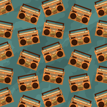 retro vintage boombox radio stereo cassette background vector illustration