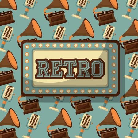 retro vintage gramophone deive musical background vector illustration Stock Illustratie