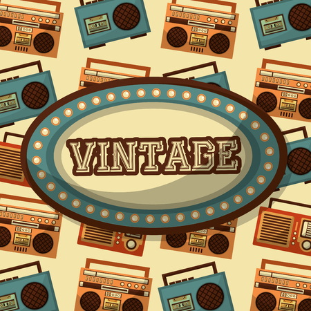billboard vintage word and radio boombox cassette background vector illustration