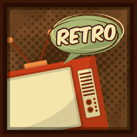 retro vintage television speech bubble dotted background vector illustration Foto de archivo - 102971665