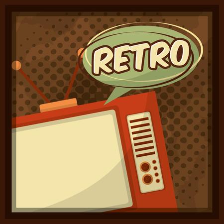 retro vintage television speech bubble dotted background vector illustration Illustration