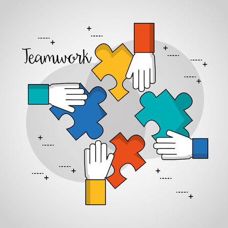 people teamwork hands with many puzzle pieces together job vector illustration Standard-Bild - 102971673