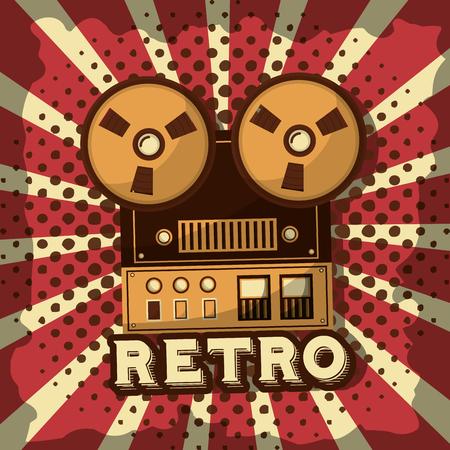 reel to reel tape record audio retro vintage sunburst background vector illustration 일러스트