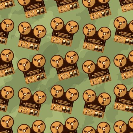 reel to reel tape recorder retro vintage pattern vector illustration