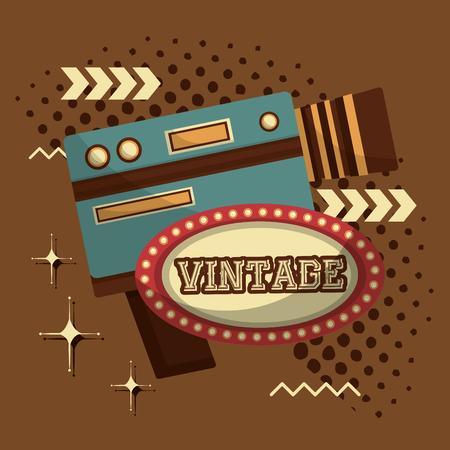 camcorder film movie retro vintage emblem vector illustration Banque d'images - 102972152