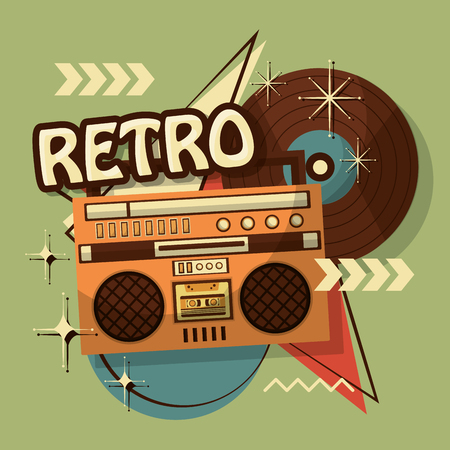 music boombox vinyl disk retro vintage memphis background vector illustration Standard-Bild - 103156461