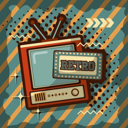 television anntena signal retro vintage dots stripes background vector illustration Illustration