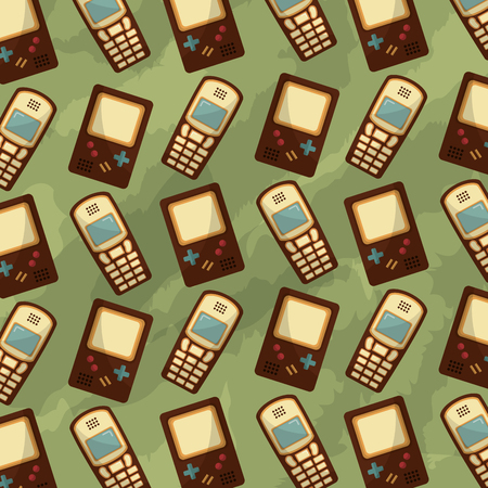 cellphone and game console retro vintage background vector illustration Banque d'images - 102971695