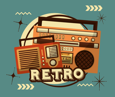 radio and boombox stereo cassette retro vintage vector illustration