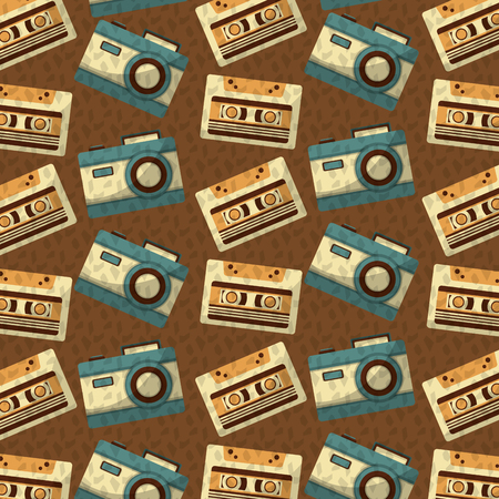 retro vintage music cassette and camera background vector illustration Ilustrace