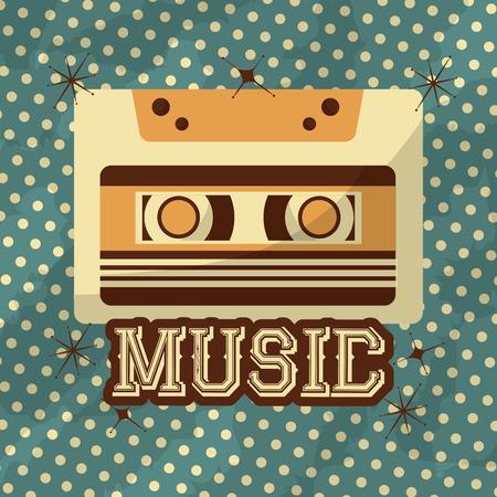 retro vintage music cassette record dots background vector illustration 일러스트