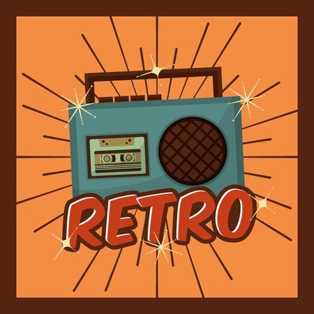 retro vintage radio cassette music device vector illustration