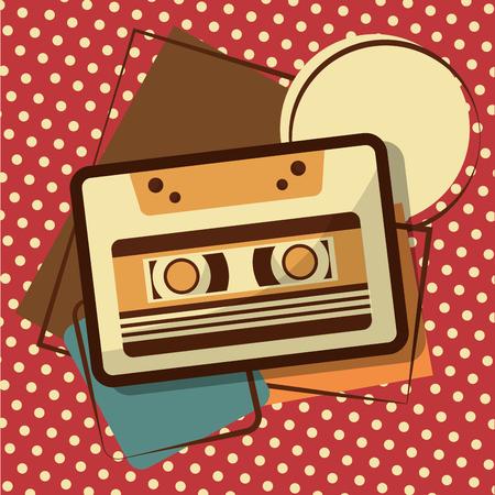 retro vintage music cassette recorder tape memphis background vector illustration