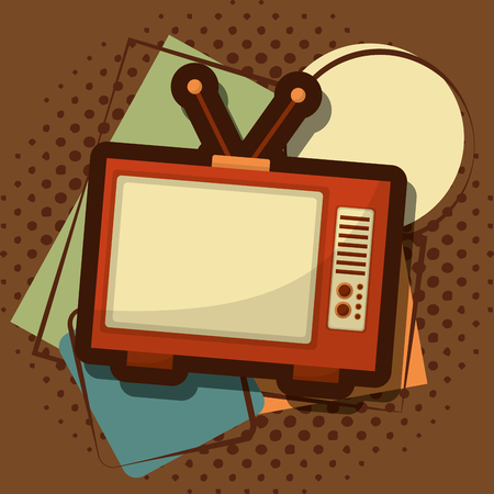 retro vintage television device halftone grunge style vector illustration