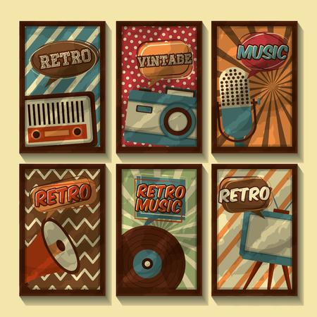 set of retro vintage devices classic design vector illustration Foto de archivo - 102971750