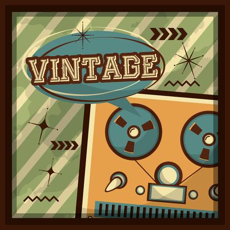 reel to reel tape audio speech bubble retro vintage vector illustration