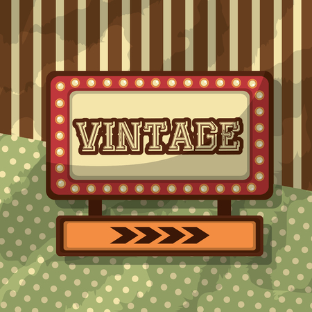 placard light retro vintage dotted and striped background vector illustration Illustration