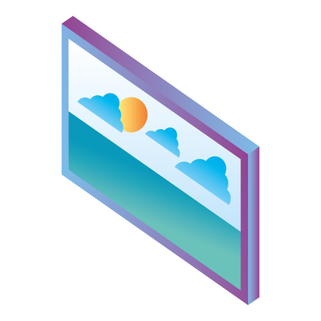 monitor with landscape isometric icon vector illustration design