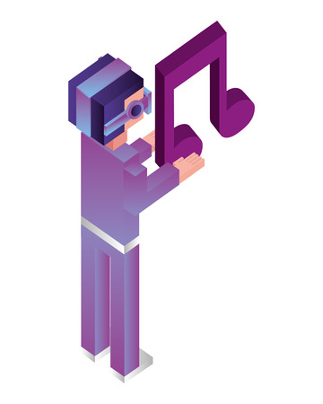 futuristic man with glasses virtual reality and note music isometric avatar vector illustration design