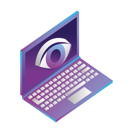 laptop computer with eye isometric icon vector illustration design Ilustração