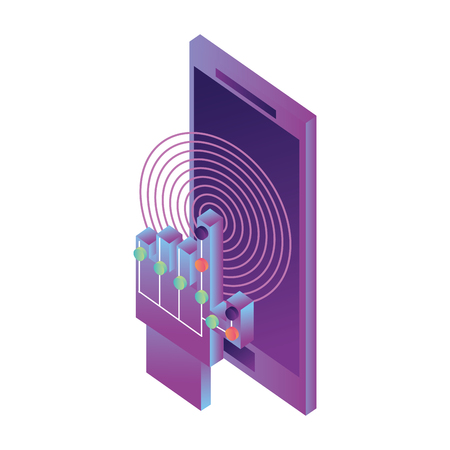 smartphone device with hand and circuit isometric icon vector illustration design