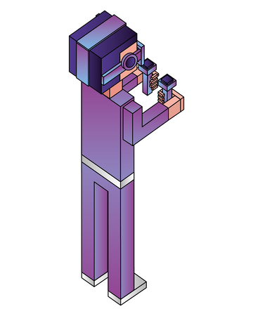 futuristic man isometric avatar vector illustration design 向量圖像
