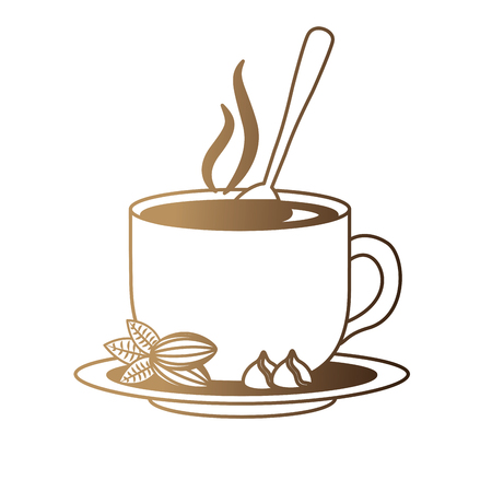 delicious coffee cup with grains and spoon isolated icon vector illustration design Çizim