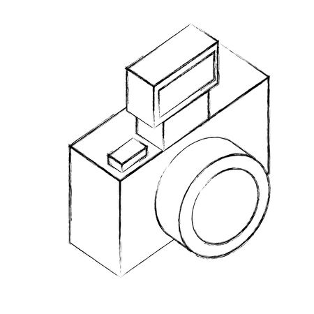 photographic camera lens flash device vector illustration sketch  イラスト・ベクター素材