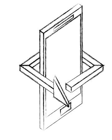 smartphone device arrow 360 degree vector illustration sketch 向量圖像