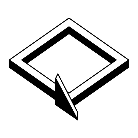 3d arrow square direction virtual reality vector illustration black and white