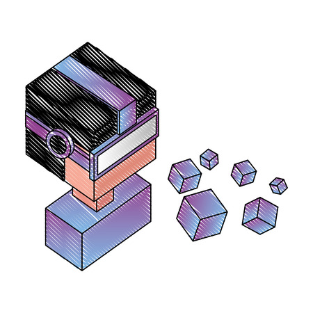 portrait man using vr goggles watching 3d cubes vector illustration drawing