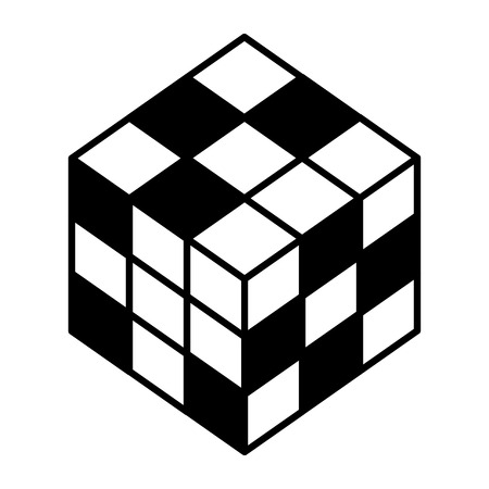 3d cube game toy image vector illustration black and white Çizim