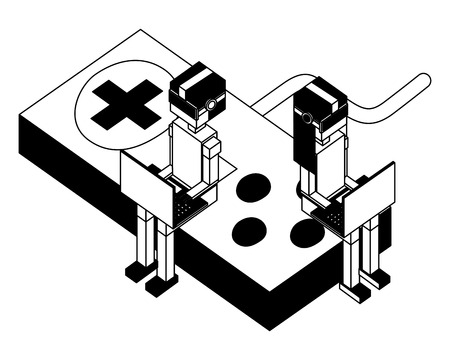 man and woman with vr glasses using laptops sitting in game control vector illustration black and white Illustration