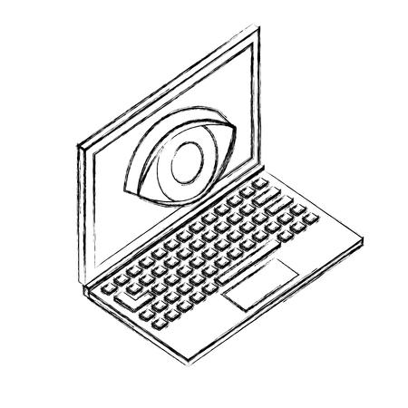 laptop computer and eye surveillance vector illustration sketch