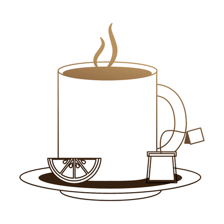 delicious lemon tea cup and bag tea with slice lemon vector illustration design