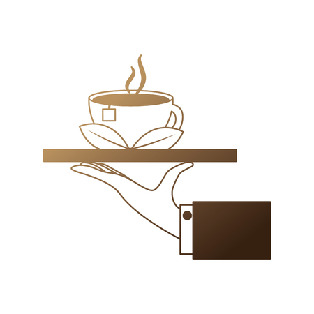 hand with tray and delicious herbs tea cup vector illustration design Banque d'images - 102973295