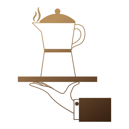 hand lifting tray with teapot coffee isolated icon vector illustration design