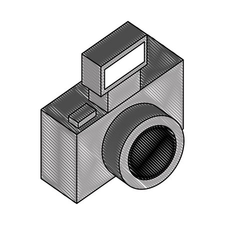 photographic camera lens flash device vector illustration drawing  イラスト・ベクター素材
