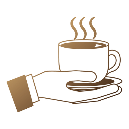 hand with delicious coffee cup isolated icon vector illustration design