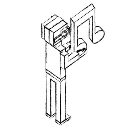 man using vr glasses with hologram musical note vector illustration sketch  イラスト・ベクター素材