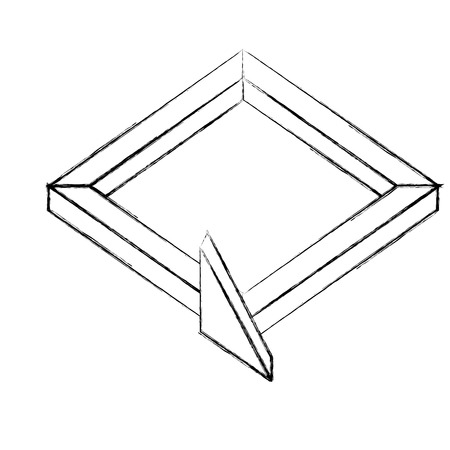 3d arrow square direction virtual reality vector illustration sketch