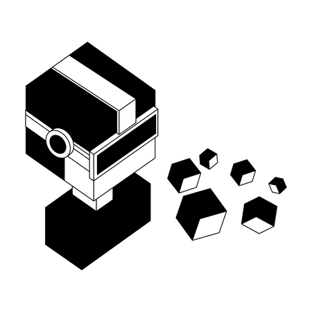 portrait man using vr goggles watching 3d cubes vector illustration black and white 向量圖像