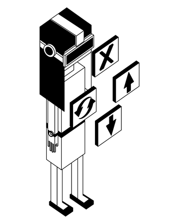 woman using vr goggles looking 3d buttons game vector illustration black and white
