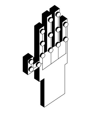 virtual reality wired glove digital futuristic technology vector illustration black and white Фото со стока - 102973422
